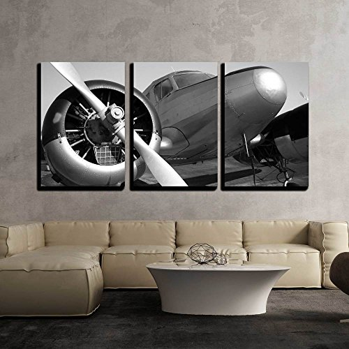 Airplane Wall (wall26 - 3 Piece Canvas Wall Art - Vintage Twin Engine Airplane - Modern Home Decor Stretched and Framed Ready to Hang - 16