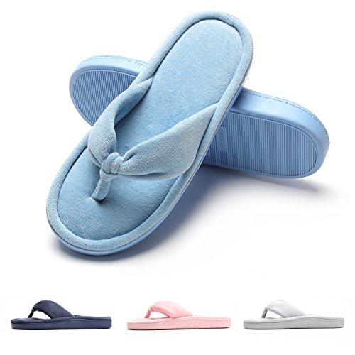 Women's Plush Flip Flop Flat Thong Slippers Sandals Comfy Velvet House Shoes Cotton Anti-Slip Cute Home/Indoor Slip On Memory Foam Summer/Winter, 4 Colors Sky Blue