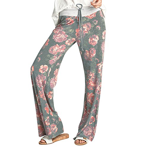 FORUU Women's Comfy Stretch Floral Print Drawstring Palazzo Wide Leg Lounge Pants