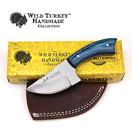 (Wild Turkey Handmade Real Camel Bone Handle Fixed Blade Skinner Knife w/Leather Sheath (Blue Wood))