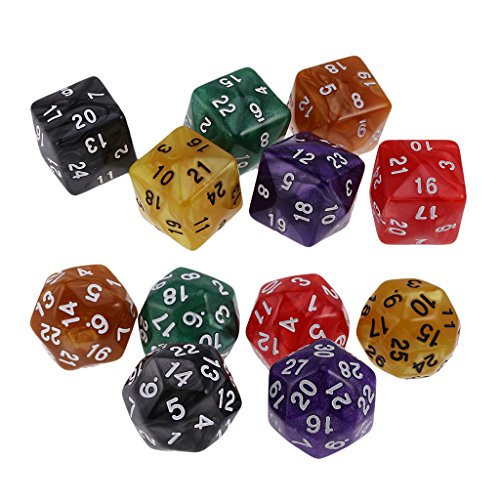 Baoblaze 12Pcs D24 D30 Dice Set Dies Numeral for D&D MTG Table Board Game Prop Gift by Baoblaze