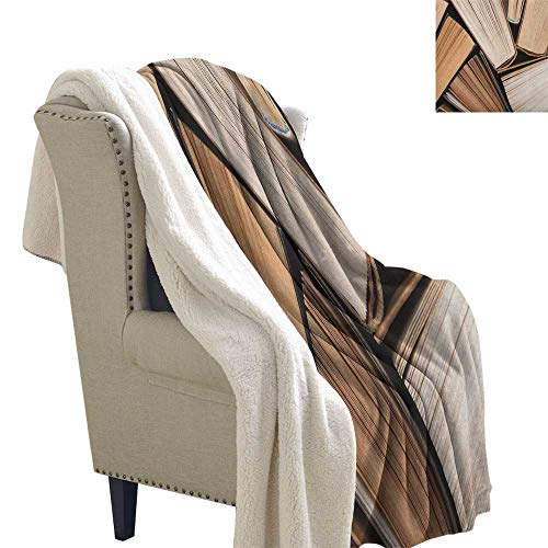 (Suchashome Abstract Lightweight All-Season Blanket Pile of Old Books Research Reading Library Education Literature Theme Picture Light Thermal Blanket 60x47 Inch Brown Beige)