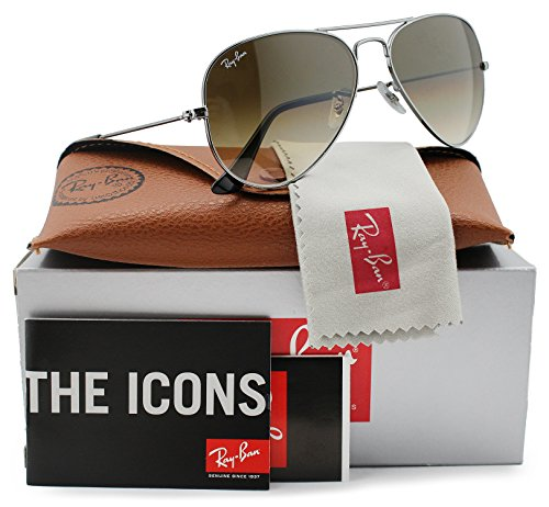 Ray-Ban RB3025 Small Aviator Sunglasses Shiny Gunmetal w/Brown Gradient (004/51) 3025 00451 55mm - Small Rb3025
