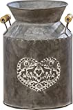 The Farmer's Market Creamery Milk Can, Dark Rustic Galvanized Metal, Rubbed Raised Medallion, Hearts and Deer Decoration, Wooden Handle, Bevel, Rivets Details, 7 Diameter x 9 1/2 Inches Tall, By WHW