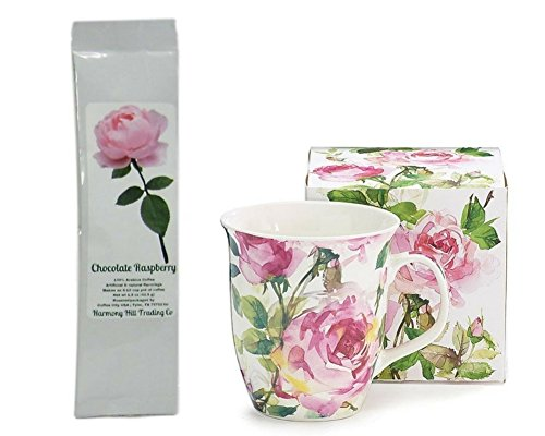 Pink Roses Floral Flowers Coffee Mug Cup with Pink Rose Chocolate Raspberry Coffee Gift Set 2 Item (Chocolate Basket Set)