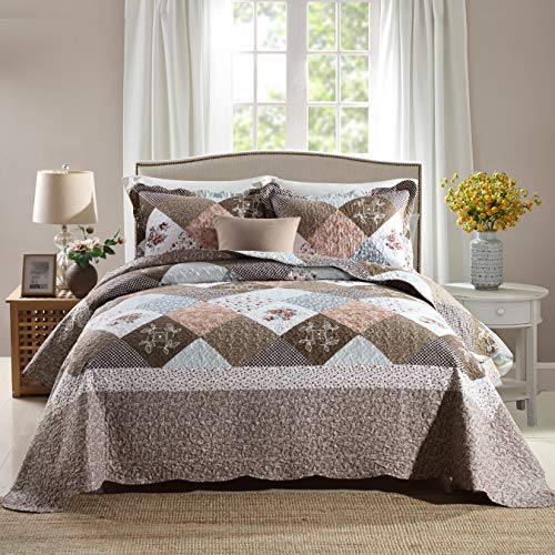 Travan 3-Piece Queen Quilt Sets with Shams Oversized Bedding Bedspread Coverlet Set