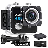 WiMiUS Action Camera 4K HD 20MP Helmet Cam 30M Underwater Cameras 170 Degree Wide Angle 2.0'' LCD Screen Dual 1000mAh Batteries with Portable Package Waterproof Case and Kit of Accessories, L1, Black