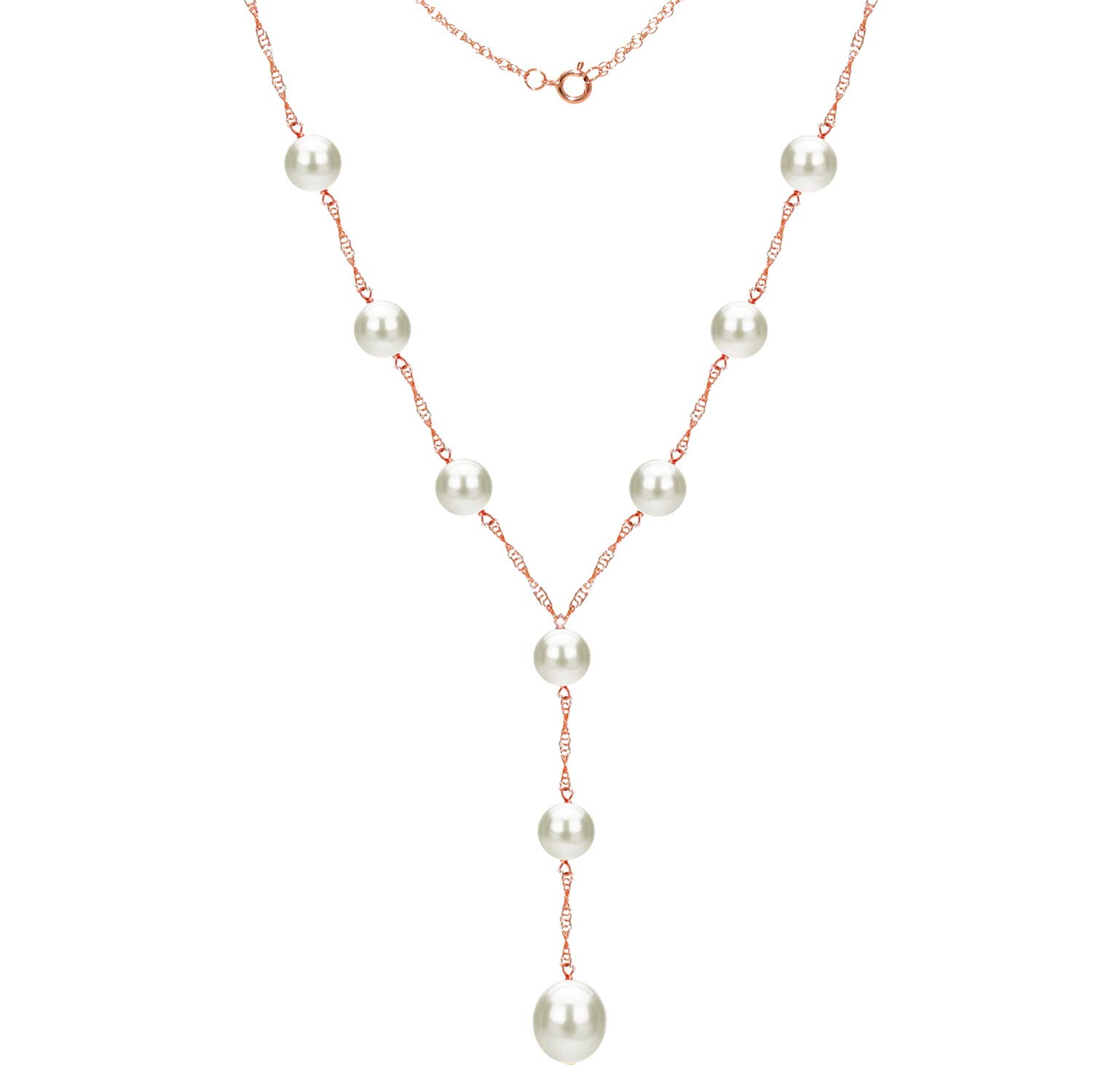 14k Rose Gold 8-8.5mm and 9-9.5mm White Freshwater Cultured Pearl Station Necklace, 18'' + 2'' Drop