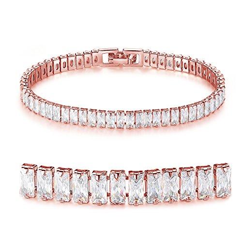 CYBERNY Tennis Bracelets Rectangle Cut 2x4mm AAA Cubic Zirconia stone Bracelets for Women Rose Gold
