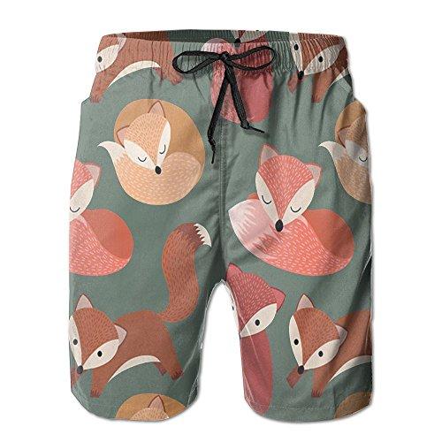 NUNOFOG Cartoon Fox Men's Swim Boardshorts Quick-Dry Surf Beach Shorts Casual Sport Trunks Shorts Beach Pants With Pocket