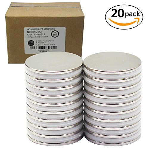 Strong Neodymium Disc Magnets 20 Pack For Kitchen, Office, Garage, Home, Workplace, 1.26''D x 0.08''H by HongsMarket (Image #1)