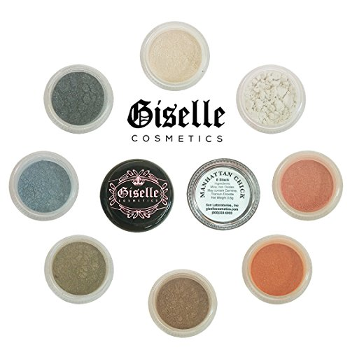 Mineral Makeup Powder, Foundation, Concealer, Eye Shadow Blush, and Contouring Palette by Giselle Cosmetics | Pure, Non-Diluted Shimmer Mineral Make Up in 8 Manhattan Hues and Shades | For Oily Skin (Shimmer Pure Mineral)