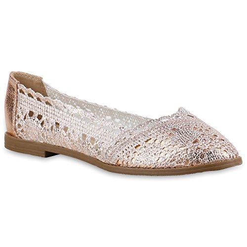 Stiefelparadies Damen Ballerinas Slipper Flache Schuhe Spitze Häkeloptik Feminine Slip-Ons Stoffschuhe Strass Metallic Flandell Rose Gold Spitze