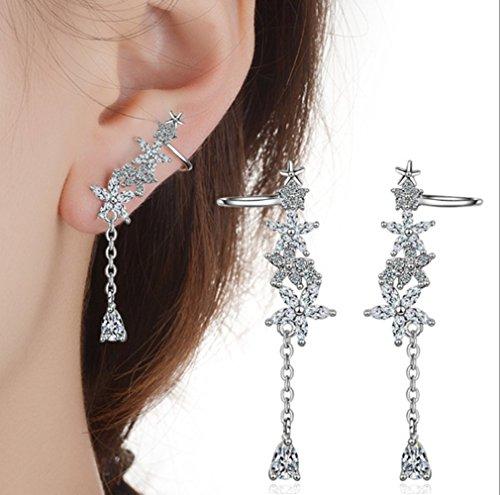 Flower 11 Mm Post (HOMEYU CZ Crystal Flower Ear Cuffs Climber Ear Crawler Earrings Sweep up Ear Wrap Pins 1 Pair)