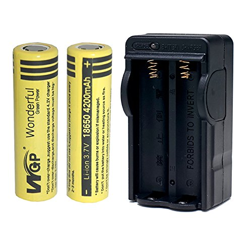 Mickeyattraction New Set WGP 2pcs 18650 4200mAh 3.7V Lithium Li-ion Flat Top High Drain Dynamic Rechargeable Battery for UltraFire Cree LED Headlight Headlamp Torch Flashlight Power Bank Charger