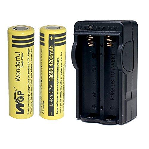 Mickeyattraction New Set WGP 2pcs 18650 4200mAh 3.7V Lithium Li-ion Flat Top High Drain Dynamic Rechargeable Battery for UltraFire Cree LED Headlight Headlamp Torch Flashlight Power Bank Charger