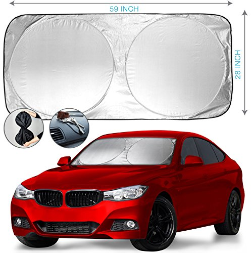 "Car Windshield Sun Shade + Bonus Gift - Heat & Sun Protector, Compact Storage with Strap, Quick & Easy Installation, Universal Fit, UV Ray Deflector | Black/Silver Sides (59"" x 28"") by Wellcoda"