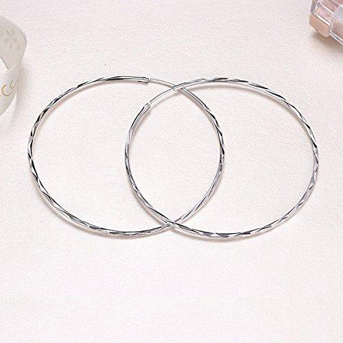 925 Sterling Silver Circle Endless Large Hoop Earrings for Women Girls (50MM Hoop Earrings) by POPLYKE (Image #3)