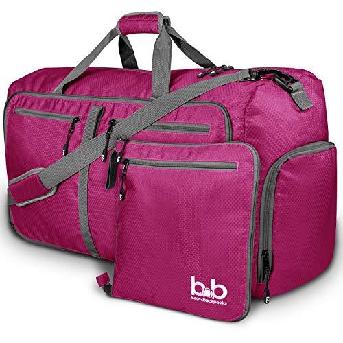 Medium Gym Duffle Bag with Pockets - Foldable Lightweight Travel Bag (Pink)