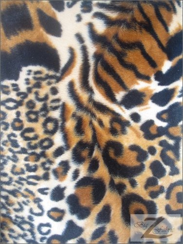 White//Black SOLD BTY VELBOA FAUX FAKE FUR CHEETAH ANIMAL SHORT PILE FABRIC