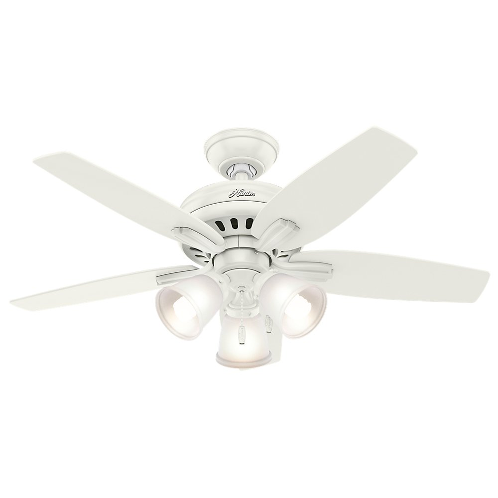 Hunter 51083 Newsome Ceiling Fan with Light, 42''/Small, Fresh White