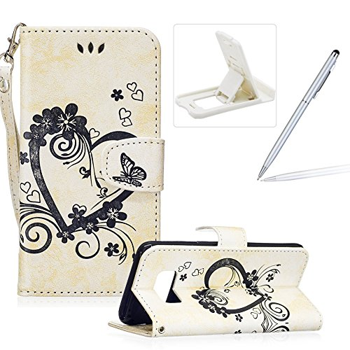 PU Leather Case For Samsung Galaxy S8,Strap Magnetic Wallet Folio Cover for Samsung Galaxy S8,Herzzer Elegant Slim Beige [Love Hearts Flower Embossed] Stand Phone Case