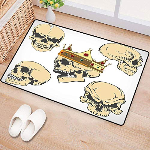 WilliamsDecor SkullFashion Door matSkulls Different Expressions Evil Face Crowned Death Monster Halloween PrintAntifouling W24 xL35 Sand Brown Yellow -