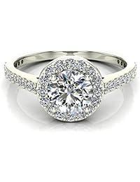 115 ct tw round brilliant diamond dainty halo engagement ring 14k gold ji1