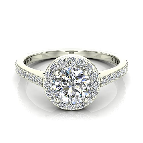 Round Brilliant Cut Diamond Dainty Halo Engagement Ring 1.15 carat total 14K Gold (J,I1)
