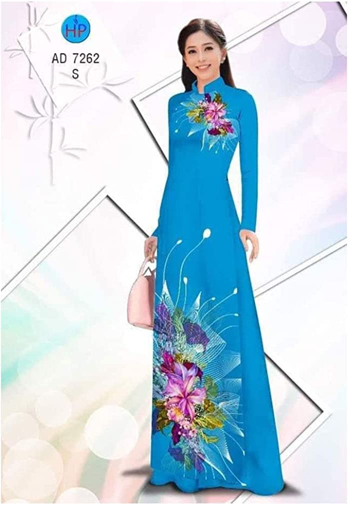 Traditional Vietnamese Long Dress Collections with Pants Ao Dai Silk 3D ADVN0405202410