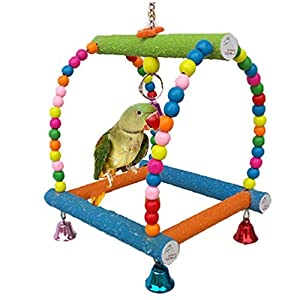 Large Bird Swing Toy for Parrot Macaw African Greys Budgies Cockatoo Parakeet Cockatiel Conure Lovebirds Finch Cage Perch Toy Paw Grinding Ladder 87