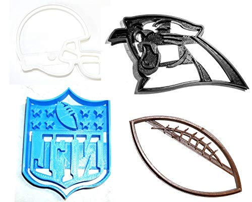 CAROLINA PANTHERS NFL FOOTBALL LOGO HELMET SET OF 4 SPECIAL OCCASION COOKIE CUTTERS BAKING TOOL 3D PRINTED MADE IN USA PR1141