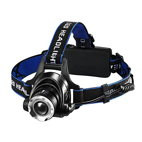 Litom Kopflampe,wiederaufladbare LED-Stirnlampe, Zoom Kopfleuchte mit 1600 Lumen Helligkeit, Wasserdicht, vier Beleuchtungsmodi, für Camping, Wandern, Angeln, Jagen(2 x 18650 Lithium-Ionen Akku enthalten)