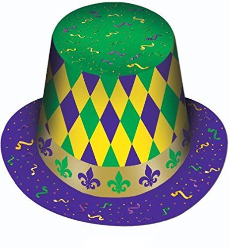 Mardi Gras Hi-hat (Prtd Design) Party Accessory (1 Count) Pkg/12 by PMU