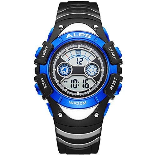 Price comparison product image Kid's Outdoor Sports Waterproof Digital Watch With Alarm,calendar And Stopwatch(Blue)