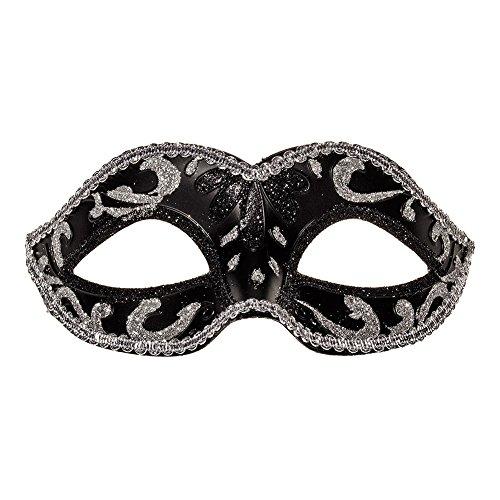 Blue Banana Masquerade Mask (Black/Silver) ()