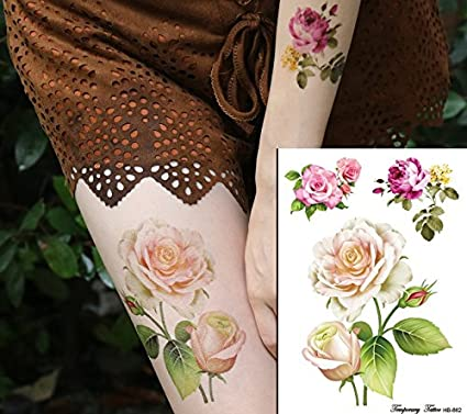 Rosas Flores Tattoo Flash Tattoo Fake Tattoo hb662: Amazon.es: Belleza