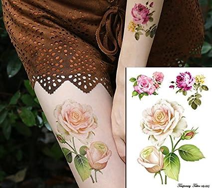 Rosas Flores Tattoo Flash Tattoo Fake Tattoo hb662: Amazon.es: Belleza