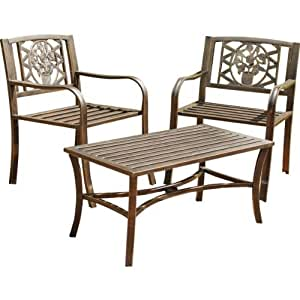 Essentialz Garden 2 Pack Armchairs with Cast Iron Inserts - Brown with Advanced Windup 4 LED Outdoor Lantern