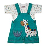 A Cute Giraffe Printed Textile Dungaree With Half Sleeves Tee Set