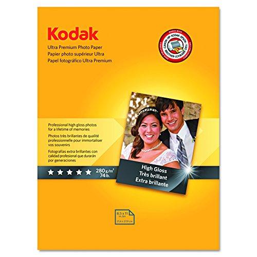 "Kodak Ultra Premium Photo Paper for inkjet printers, Gloss Finish, 10.7 mil thickness, 25 sheets, 8.5"" x 11"" (8366353) by Kodak"
