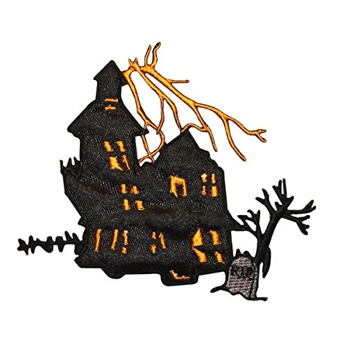 ID 0862 Haunted House Patch Halloween Scary Scene Embroidered Iron On -