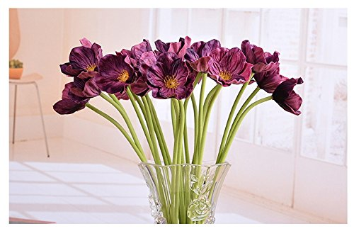 10 PCS High Quaulity Fresh Artificial Mini Real Touch PU/ latex Corn Poppies Decorative Silk fake artificial poppy flowers for Wedding holiday Bridal Bouquet Home Party Decor bridesmaid (Burgundy) Burgundy Wedding Flowers