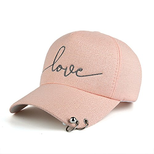 Puissant Snapback Cap Iron Hoop Bead on Visor Love Embroidery Hat for Women Baseball Cap,OneSize,Pink
