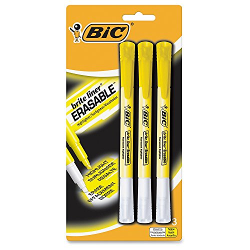 BIC Erasable Highlighter Yellow 3 Pack
