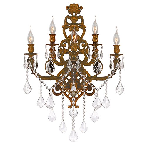 Sconce Versailles Light 2 (Worldwide Lighting Versailles Collection 5 Light French Gold Finish & Golden Teak Crystal Wall Sconce 19
