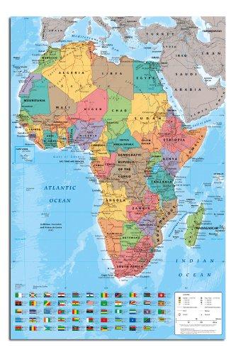 Africa Map Wall Chart Poster Gloss Laminated
