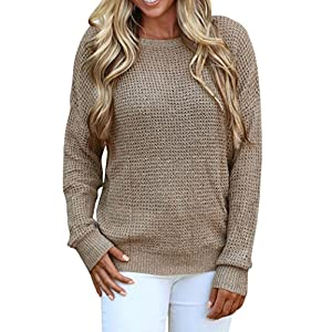 Women Tops, Gillberry Womens Long Sleeve Backless Knitting Sweaters Casual Blouse Tops (M, Coffee)