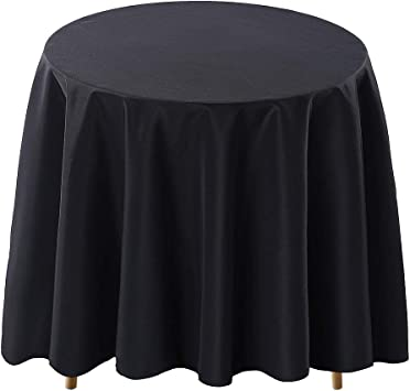 Surmente Tablecloth 90 Inch Round Polyester Table Cloth for Weddings, Banquets, or Restaurants (Black) …