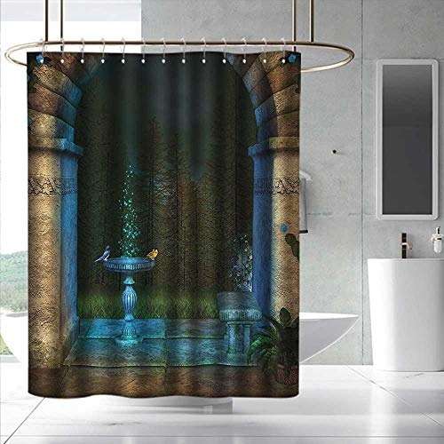 Gothic Bathroom Shower Curtain Forest Landscape from Ancient Archway Birds on Fountain Fairytale Illustration Shower Curtains in Bath W48 x L84 Blue Grey Green